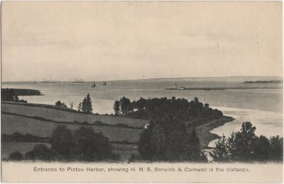 , Entrance to Pictou Harbor, showing H.M.S. Berwick & Cornwall in the distance. (2176), PEI Postcards