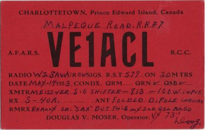 , QSL Card VE1ACL (2239), PEI Postcards