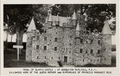 , Model of Glamis Castle – at Woodleigh Replicas, P.E.I. Childhood home of the Queen Mother and     birthplace of Princess Margaret Rose. (2219), PEI Postcards