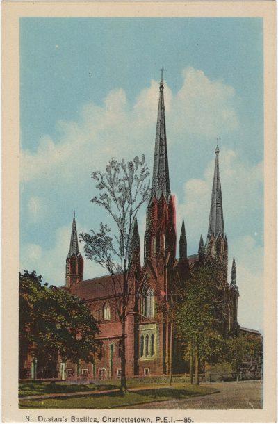 , St. Dustan's Basilica, Charlottetown, P.E.I. {note spelling error} (2218), PEI Postcards