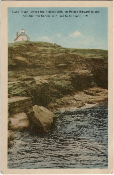 , Cape Tryon, where the highest cliffs on Prince Edward Island, including the Sphinx Cliff, are to     be found. (2212), PEI Postcards