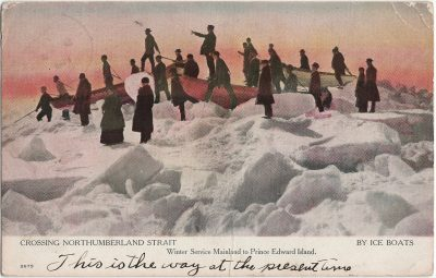 , Crossing Northumberland Strait By Ice Boats. Winter Service Mainland to Prince Edward Island. (2280), PEI Postcards