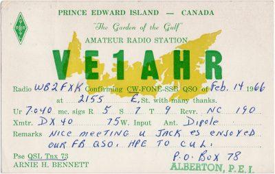 , QSL Card VE1AHR (2337), PEI Postcards