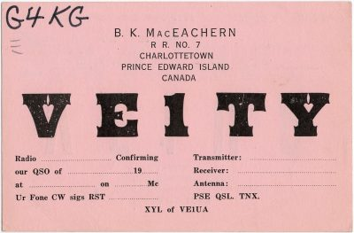 , QSL Card VE1TY VE1UA (2336), PEI Postcards