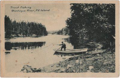 , Trout Fishing, Montague River, P.E. Island. (2283), PEI Postcards