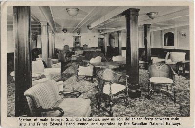 , Section of main lounge, S.S. Charlottetown, new million dollar car ferry between mainland and     Prince Edward Island owned and operated by the Canadian National Railways. (2297), PEI Postcards