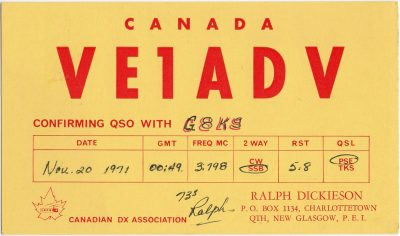 , QSL Card VE1ADV (2365), PEI Postcards