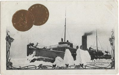 , S.S. Minto crossing Northumberland Strait in winter. (2394), PEI Postcards