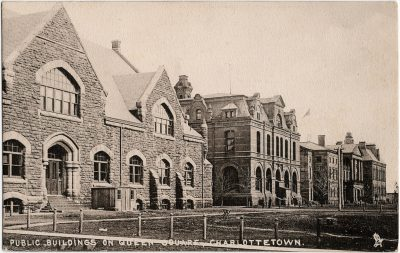 , Public Buildings on Queen Square, Charlottetown. (2403), PEI Postcards