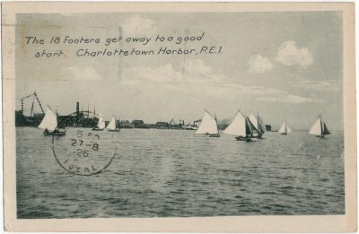 , The 18 footers get away to a good start. Charlottetown Harbor, P.E.I. (2404), PEI Postcards