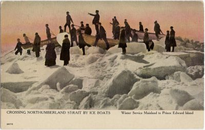 , Crossing Northumberland Strait by Ice Boats Winter Service Mainland to Prince Edward Island (2414), PEI Postcards