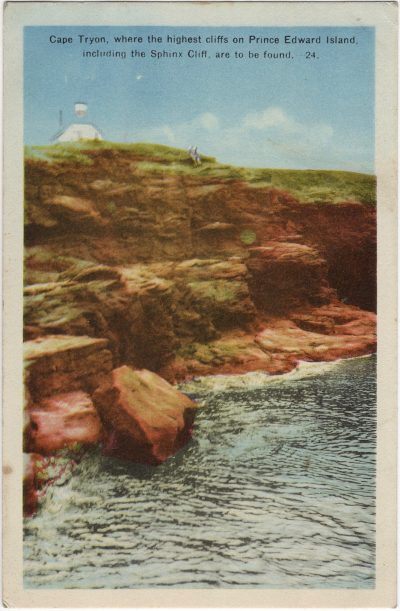 , Cape Tryon, where the highest cliffs on Prince Edward Island, including the Sphinx Cliff, are to     be found. (2419), PEI Postcards