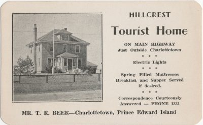 , Hillcrest Tourist Home. Mr. T.R. Beeer Charlottetown. (2481), PEI Postcards