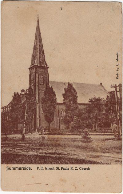 , Summerside, P.E. Island, St. Pauls R.C. Church. Pub. by L. Morris (2468), PEI Postcards