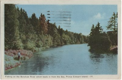 , Fishing on the Bonshaw River which leads in from the Sea, Prince Edward Island. (2469), PEI Postcards