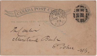 , Canada Post Card. Merchant's Bank of Halifax, Summerside P.E. Island (2448), PEI Postcards