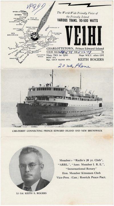 , QSL Card VE1HI (2439), PEI Postcards