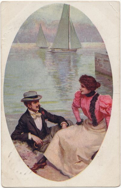, Man and woman in front of sailboats. (2436), PEI Postcards