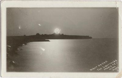 , Night Scene. The Lighthouse. Souris, P.E.I. Acorn Photo. (2542), PEI Postcards