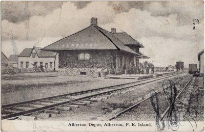 , Alberton Depot, Alberton, P.E. Island. F.C. Cropp Co, Milwaukee (2541), PEI Postcards