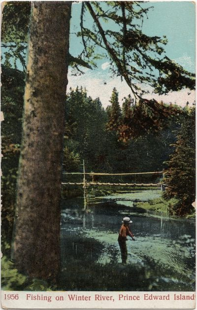, Fishing on Winter River, Prince Edward Island (2525), PEI Postcards
