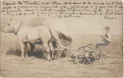, {RPPC of man on thresher behind pair of horses} (2645), PEI Postcards