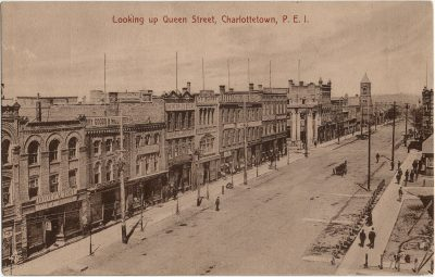 , Looking up Queen Street, Charlottetown, P.E.I. (2651), PEI Postcards