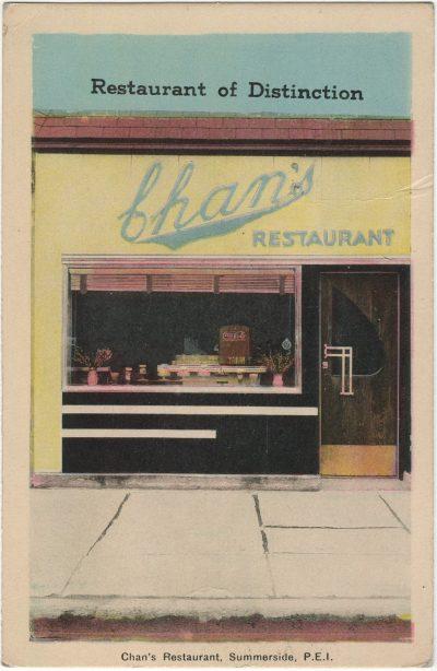 , Chan's Restaurant, Summerside, P.E.I. (2622), PEI Postcards