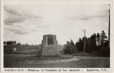 , Historic Site – Memorial to Founders of Fox Industry – Alberton, P.E.I. (2620), PEI Postcards