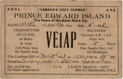 ", QSL Card VE1AP. J. Louis MacKay, ""Lou"", Box 271, Summerside, PEI. Canada's Cozy Corner. The Home     of the Silver Fox. (2702), PEI Postcards"