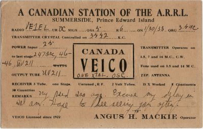 , QSL Card VE1CO. A Canadian Station of the A.R.R.L. Angus H. Mackie, Operator, Summerside, Prince     Edward Island (2700), PEI Postcards