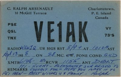 , QSL Card VE1AK C. Ralph Arsenault, 10 McGill Terrace, Charlottetown, P.E. Island 13 April 1958 (2696), PEI Postcards