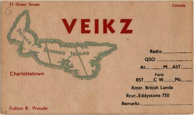 , QSL Card VE1KZ Fulton B. Proude, 11 Green Street, Charlottetown (2698), PEI Postcards
