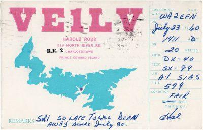 , QSL Card VE1LV. Harold Rodd, 219 North River Rd, Charlottetown, Prince Edward Island (2697), PEI Postcards