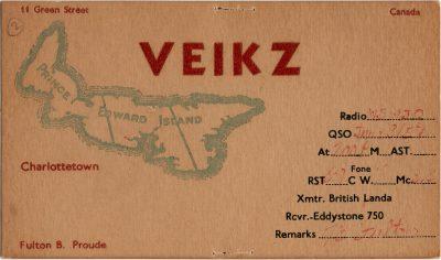 , QSL Card VE1KZ (2699), PEI Postcards