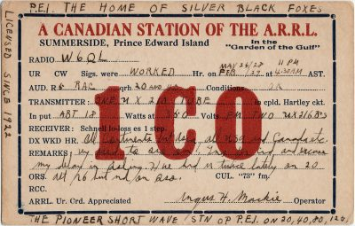 , QSL Card 1CO. Angus H Mackie Operator, Licensed since 1922. The pioneer short wave STN OP PEI. (2706), PEI Postcards
