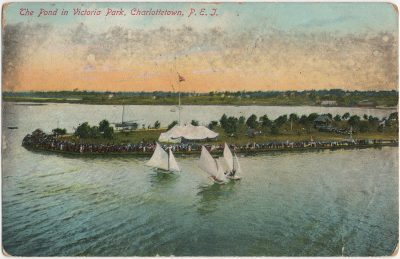 , The Pond in Victoria Park, Charlottetown, P.E.I. (actually Victoria Park in Belleville, ON) (2668), PEI Postcards