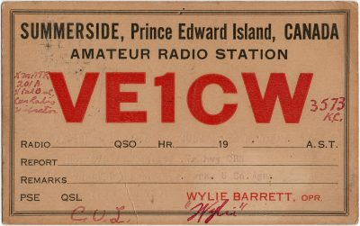 , QSL Card VE1CW. Wylie Barrett, Opr, Summerside, Prince Edward Island (2703), PEI Postcards