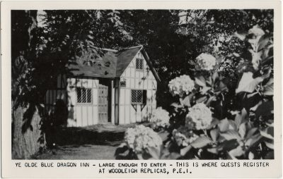 , Ye Olde Blue Dragon Inn – Large Enough to Enter – This is where Guests Register at Woodleigh     Replicas. (2728), PEI Postcards