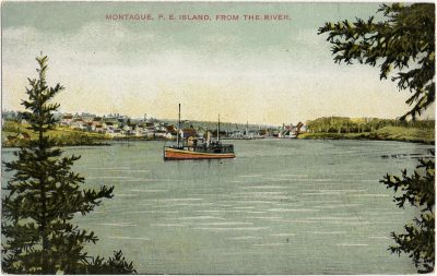 , Montague, P.E. Island, From the River. (2712), PEI Postcards