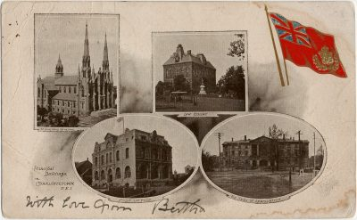 , Provincial buildings in Charlottetown PEI. St Dunstan's Cathedral Law Court Post Office The Seat     of Legislature (2777), PEI Postcards