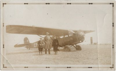 , Photograph made up to look like postcard – Summerside Airplane (2779), PEI Postcards