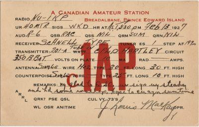 , QSL Card C1AP (2826), PEI Postcards