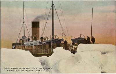 , D.G.S. Minto Icebound, Winter Service Pictou N.S. to Georgetown P.E.I. (2814), PEI Postcards