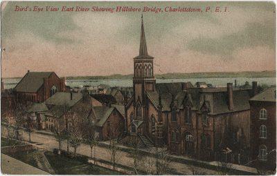 , Bird's Eye View East River Showing Hillsboro Bridge, Charlottetown, P.E.I. (2809), PEI Postcards