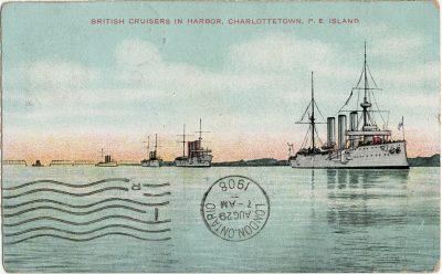 , British Cruisers in Harbor, Charlottetown, P.E. Island. (2872), PEI Postcards