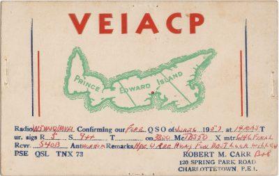 , QSL Card VE1ACP. (2863), PEI Postcards