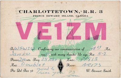 , QSL Card VE1ZM (2905), PEI Postcards