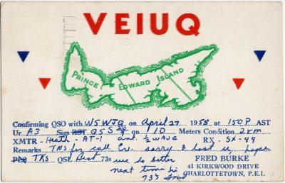 , QSL Card VE1UQ Fred Burke (2906), PEI Postcards