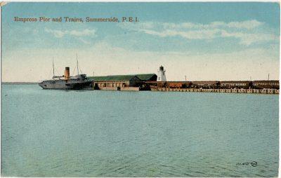 , Empress Pier and Trains, Summerside, P.E.I. (2912), PEI Postcards